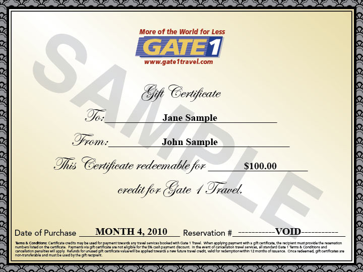 Gift Certificates | Gate 1 Travel - More of the World For Less!
