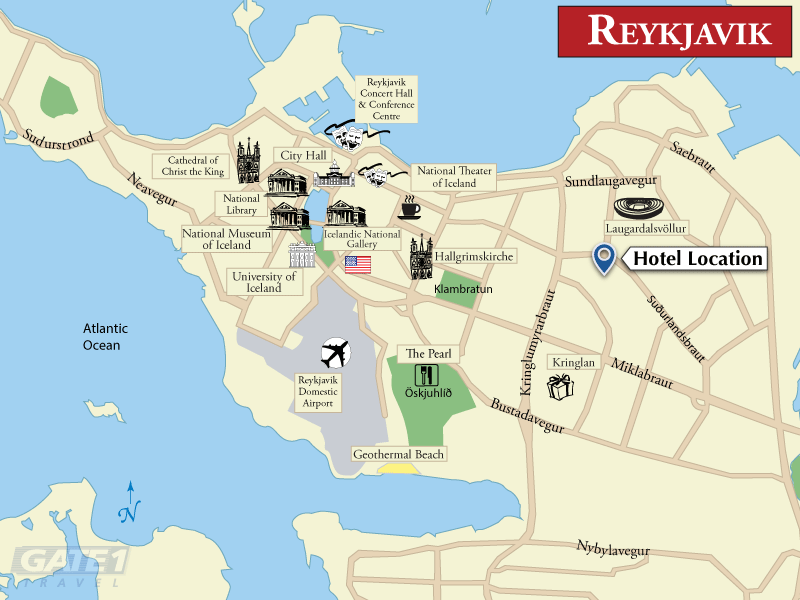 Reykjavik Lights Hotel – Reykjavik Tourist Map